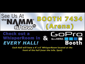 banner ad to promote the 2015 NAMM show and the custom built GoPro WhisperRoom booth