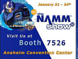 Banner ad to promote the 2016 Winter NAMM Show in Anaheim California