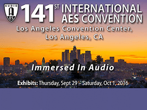 Banner ad with the city of Los Angeles in the background to promote the 141st AES Convention