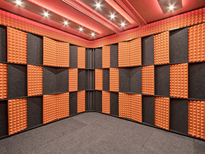 image of the Acoustic Tuning Package inside of a WhisperRoom sound booth