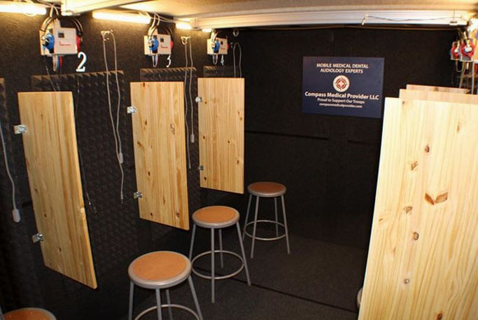 An image of the mobile testing room that Compass Medical Provider uses to perform hearing tests and other medical testing