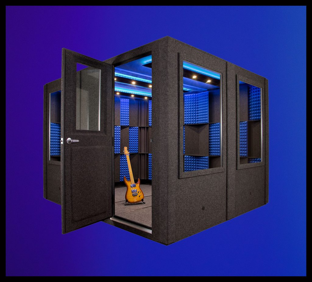 image of a WhisperRoom iso booth with an open door and guitar inside (Featured Image)