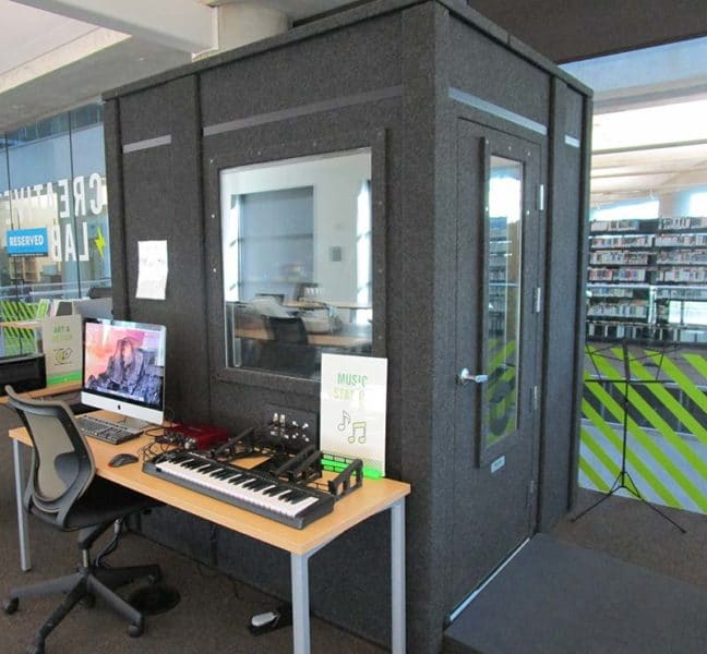 A WhisperRoom recording booth inside of a library