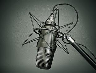A black condenser microphone