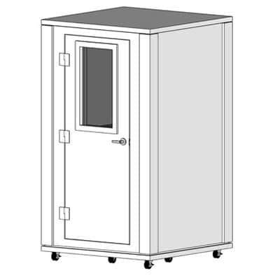 CAD image of a 4' x 4' sound isolation booth with single wall soundproofing