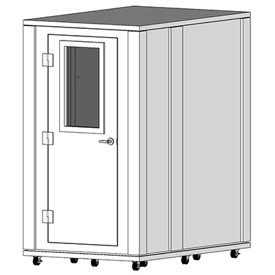 CAD image of a 4' x 6' whisperroom sound isolation booth