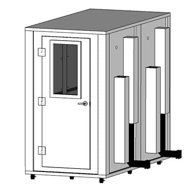 CAD image of a 4' x 8' sound isolation booth