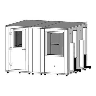 CAD drawing of an 8' x 10' MDL 96120 sound isolation booth by WhisperRoom