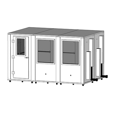CAD drawing of an 8' x 12' MDL 96144 sound isolation booth by WhisperRoom