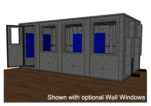 CAD drawing of a WhisperRoom MDL 96192 E with the door open