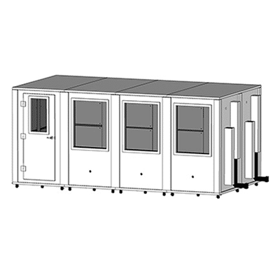 CAD drawing of an 8' x 16' MDL 96192 sound isolation booth by WhisperRoom