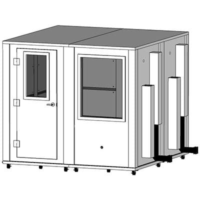 CAD image of an 8' x 8' WhisperRoom sound isolation booth
