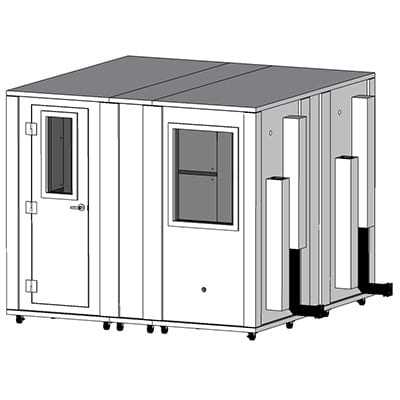 CAD image of a 8.5'x8.5' WhisperRoom sound isolation booth