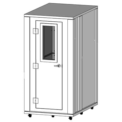 CAD image of a 3.5' x 5' whisperroom sound isolation booth with double-walls