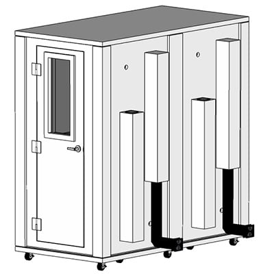 CAD image of a 3.5' x 7' whisperroom sound isolation booth