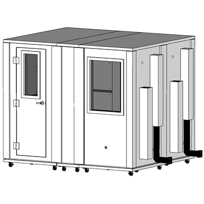 CAD image of a 7' x 8.5' sound isolation booth