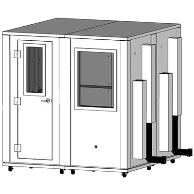 CAD image of a 7' x 7' sound isolation enclosure