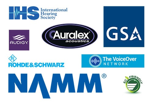 Partners Image containing International Hearing Society, GSA, Rohde & schwarz, The Voice Over Network, Auralex acoustics, and NAMM Logos.