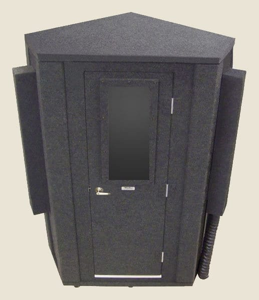 image of a WhisperRoom sound isolation booth with a cornered design to it
