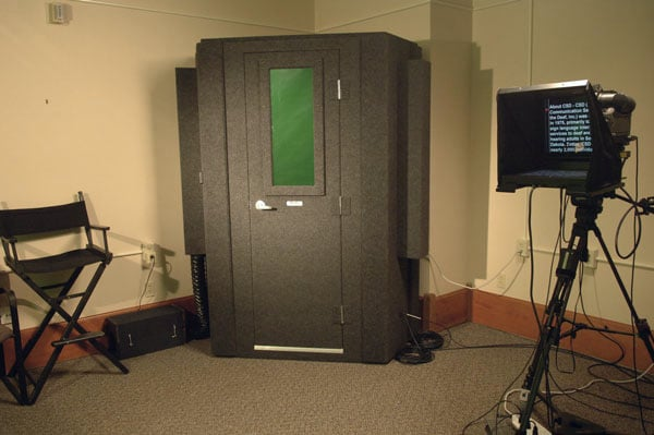 image of a WhisperRoom sound isolation booth inside of a production room