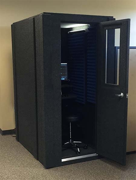 A 3.5'x5' WhisperRoom booth with an open door