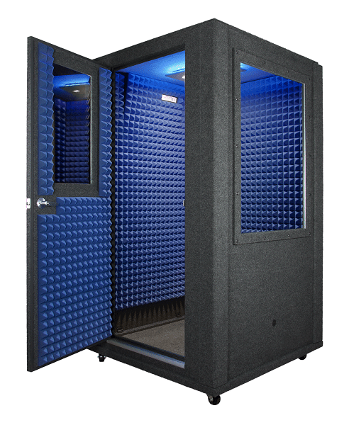Image of a 4'x4' WhisperRoom portable vocal booth with an open door and blue foam inside