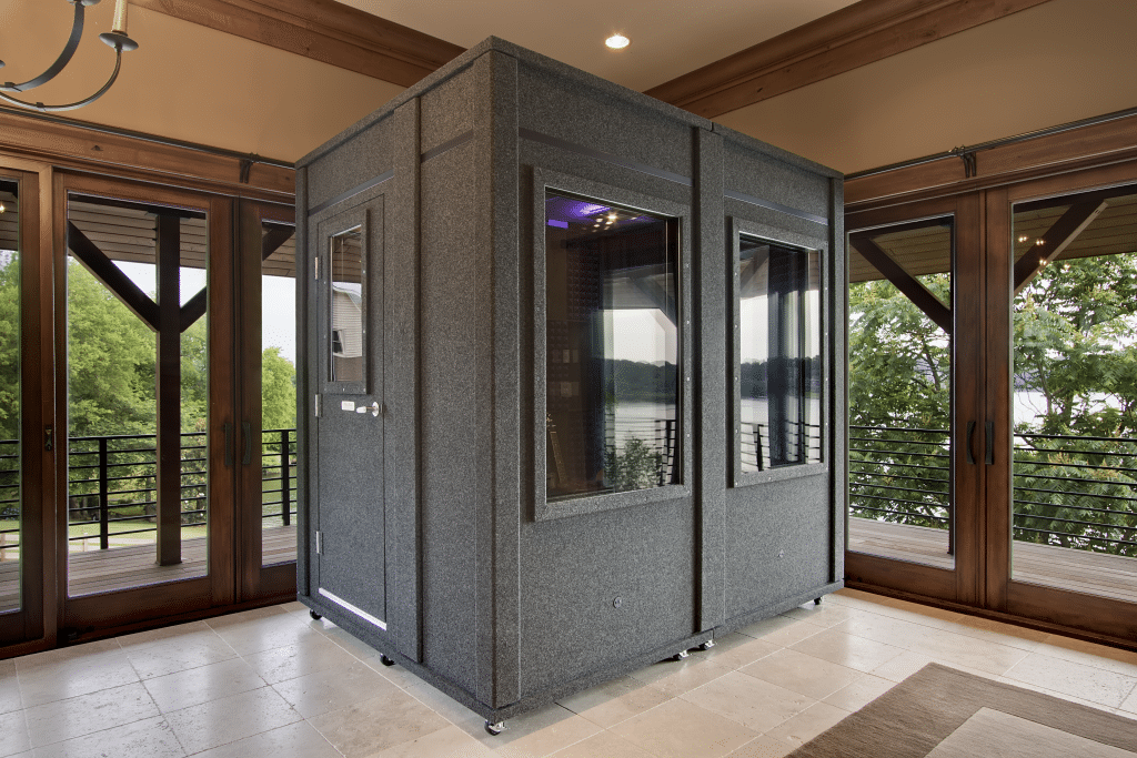 image of a WhisperRoom practice booth inside a home's foyer