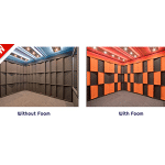 image of the acoustic tuning package by whisperroom, showing wall panels and studio foam inside of a sound proof room