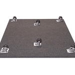 image of the bottom of a rolling caster plate with six wheels