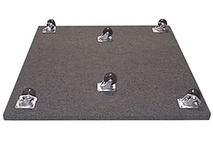 image of a caster plate with six wheels