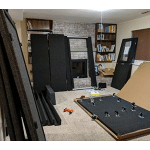 image of an unassembled whisperroom in a living room