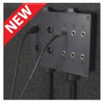 Image of a mulit jack panel with four XLR inputs and six 1/4-inch cable inputs