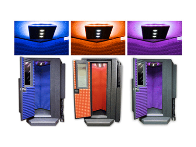 image of three whisperroom booths showing three different colors of studio lights