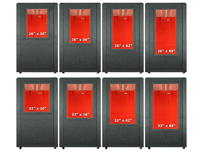 image of eight different custom sized windows for a whisperroom