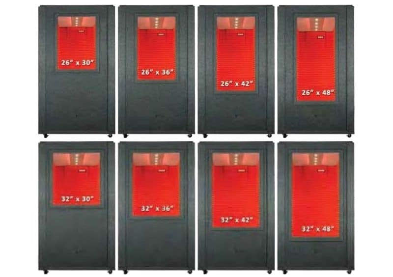 8 Various Wall Window sizes for a WhisperRoom Sound Isolation Booth
