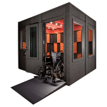 image of a WhisperRoom booth with a wide access door and an ADA package