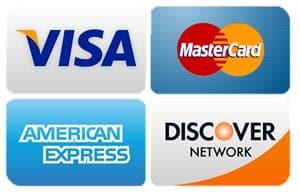image of Visa, MasterCard, American Express, and Discover logos
