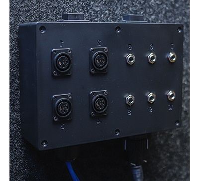 "image of a multi jack panel with 4 XLR jacks, 6 1/4"" inputs, and 2 USB jacks"