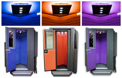 image of blue, orange, and purple studio lights for a whisperroom