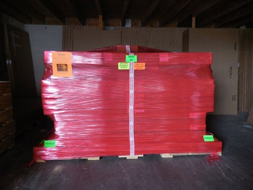 image of a whisperroom booth packaged on a pallet