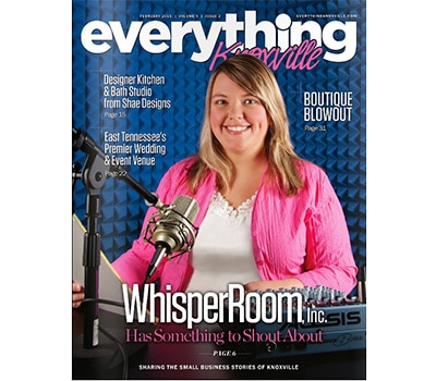 image of woman behind a microphone on the cover of a magazine