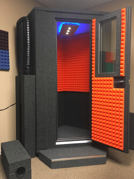image of a one person sized whisperroom isolation booth for voice overs