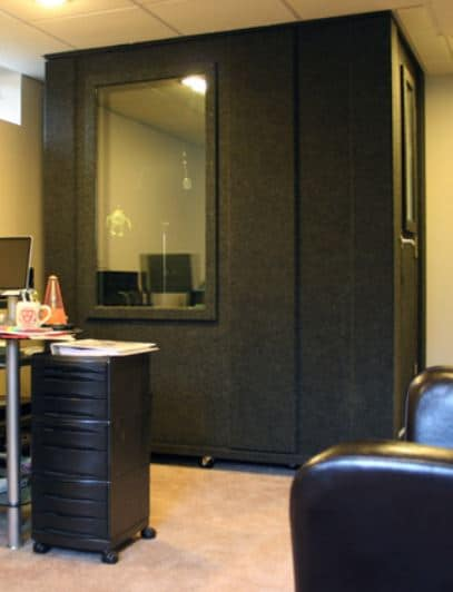 image of a whisperroom hearing booth inside of an office