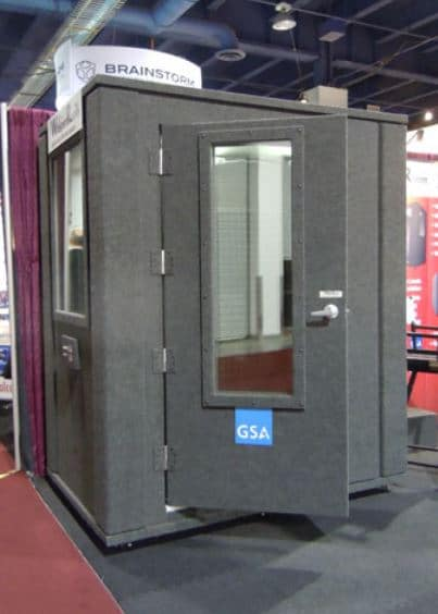 image of whisperroom recording booth at a tradeshow