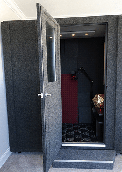 image of a whisperroom vocal booth inside an apartment