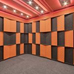 The Acoustic Tuning Package by WhisperRoom with alternating orange studio foam