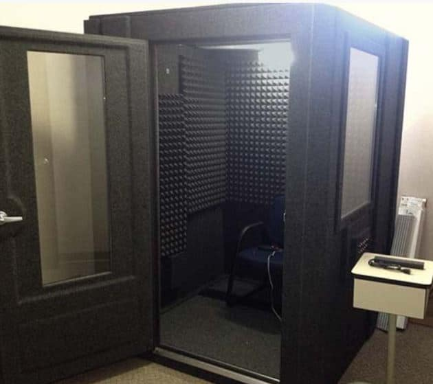 image of a whisperroom booth with the door open