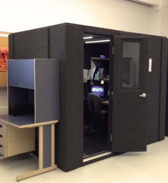 image of a 6'x8' WhisperRoom enclosure in an office setting