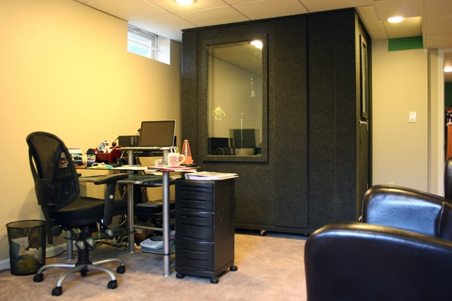 image of a whisperroom isolation booth inside of an office