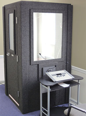 image of a whisperroom used for audiology testing